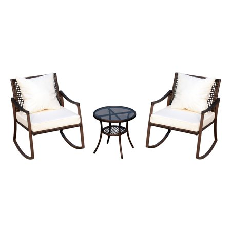Outsunny 3 Piece Outdoor Outdoor PE Rattan Wicker Patio Rocking Chair Set with Accent Table - Brown