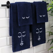 UpThrone 100% Turkish Cotton Benzoyl Peroxide Resistant 4 Piece Makeup & Face Towel Set with Hanging Loops - Navy Blue