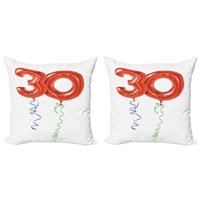 30th Birthday Throw Pillow Cushion Cover Pack of 2, Red Colored Number Balloons with Swirl Ribbons Party Concept, Zippered Double-Side Digital Print, 4 Sizes, Red Blue Green, by Ambesonne