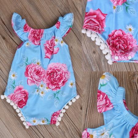 Floral Newborn Baby Boys Girls Clothes Bodysuit Romper Jumpsuit Playsuit Outfits