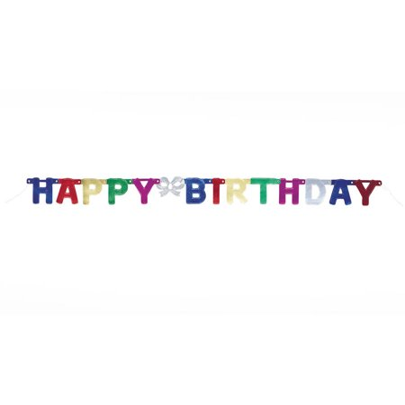 4' Metallic Happy Birthday Banner