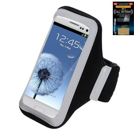 Premium Sport Armband Runner/ Running Case Pouch for Samsung Galaxy Exhibit 4G/ S6/ S5/ S5 Active, LG G3, iPhone 6 - Black + Cell Phone Antenna Booster.., By (Booster 6 Box Case)