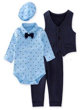 StylesILove Baby Boys Gentlemen 4-Piece Tuxedo Suit Formal Wear Outfit (80/6-12 Months)
