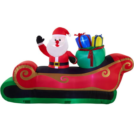 Holiday Time 10 ft. Inflatable Santa in Sleigh, Indoor or Outdoor (Waving Santa Outdoor Light)
