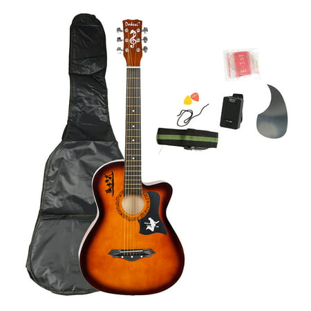 Beginners Acoustic Guitar, WRWQ47502 Brown DK-38C Basswood Guitar with Bag, Strap, LCD Tuner, Picks, Pickguard and Strings Set