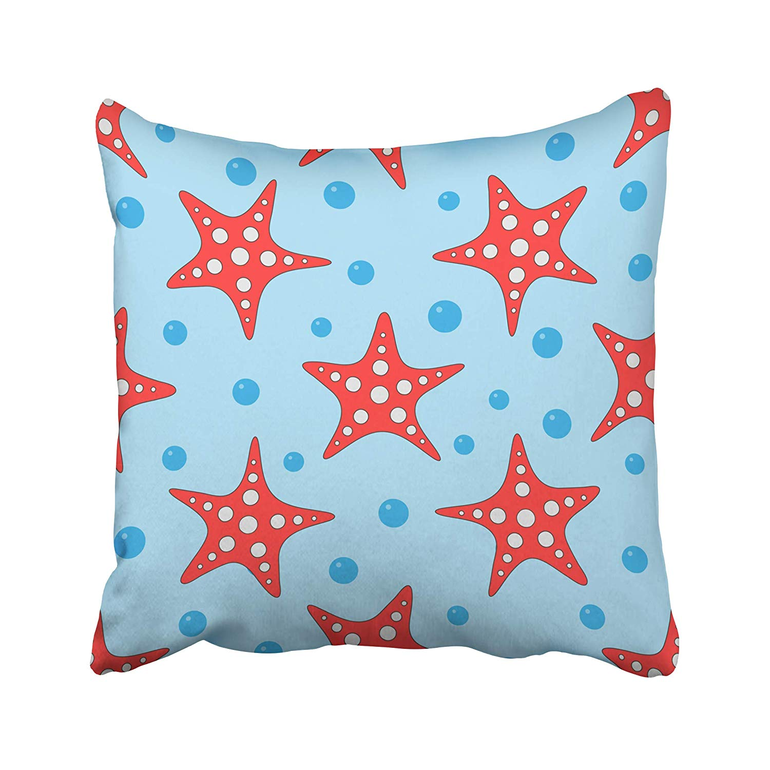 CMFUN Blue Beach Starfish and Water Bubbles Coloured for Children Red Abstract Animal Cute Pillow Case Pillow Cover 18x18 inch Throw Pillow Covers