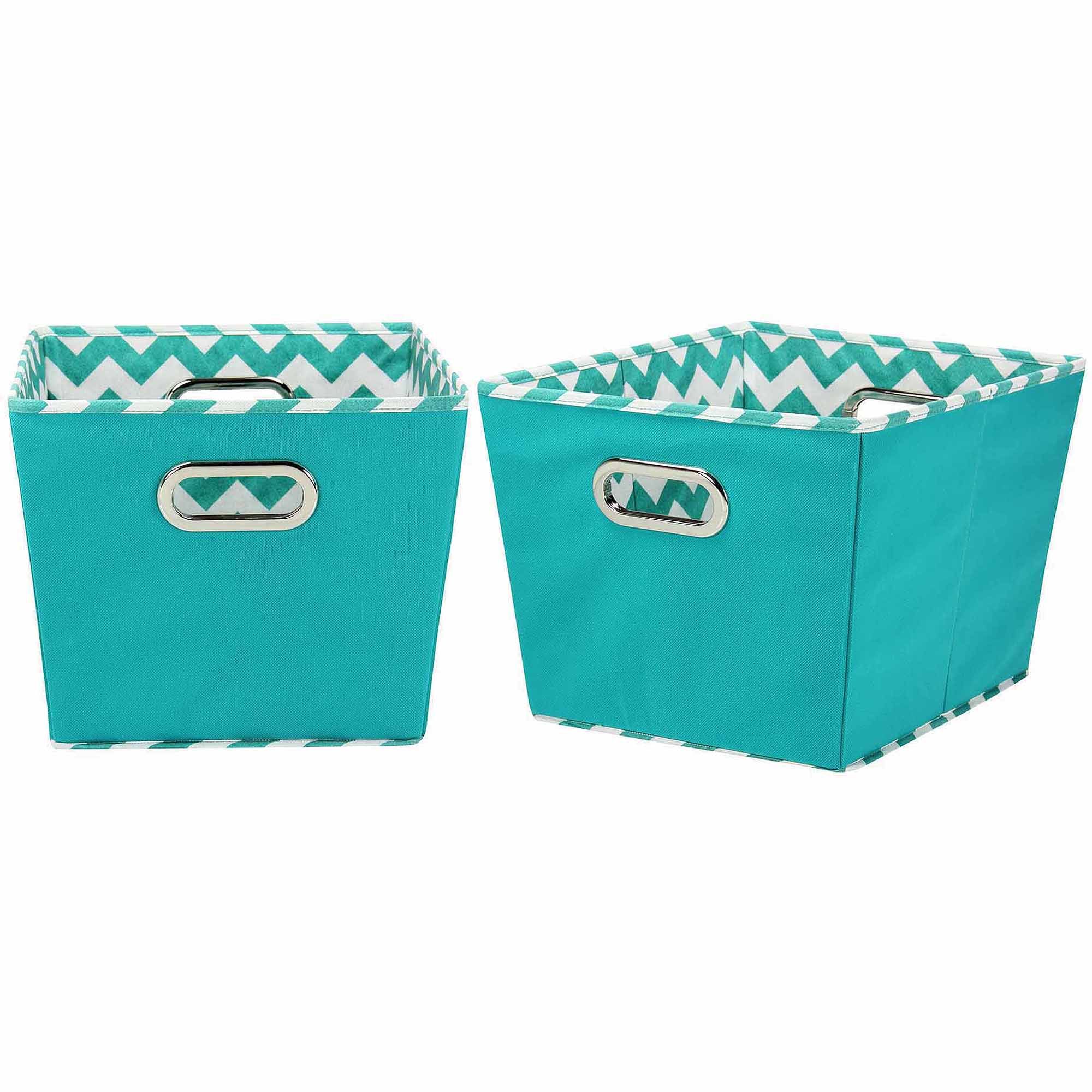 Household Essentials Medium Decorative Storage Bins, 2pk, Aqua And Chevron    Walmart.com