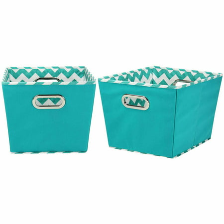 Household Essentials Medium Decorative Storage Bins, 2pk, Aqua and Chevron by