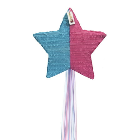Pink & Blue Gender Reveal Star Pinata with Pull Strings](Baby Carriage Pinata)