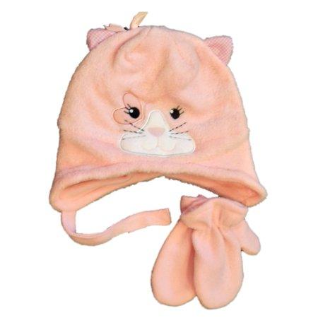 Nolan Infant Toddler Girls Pink Fleece Kitty Cat Trapper Hat Mittens Set Infant Fleece Mittens