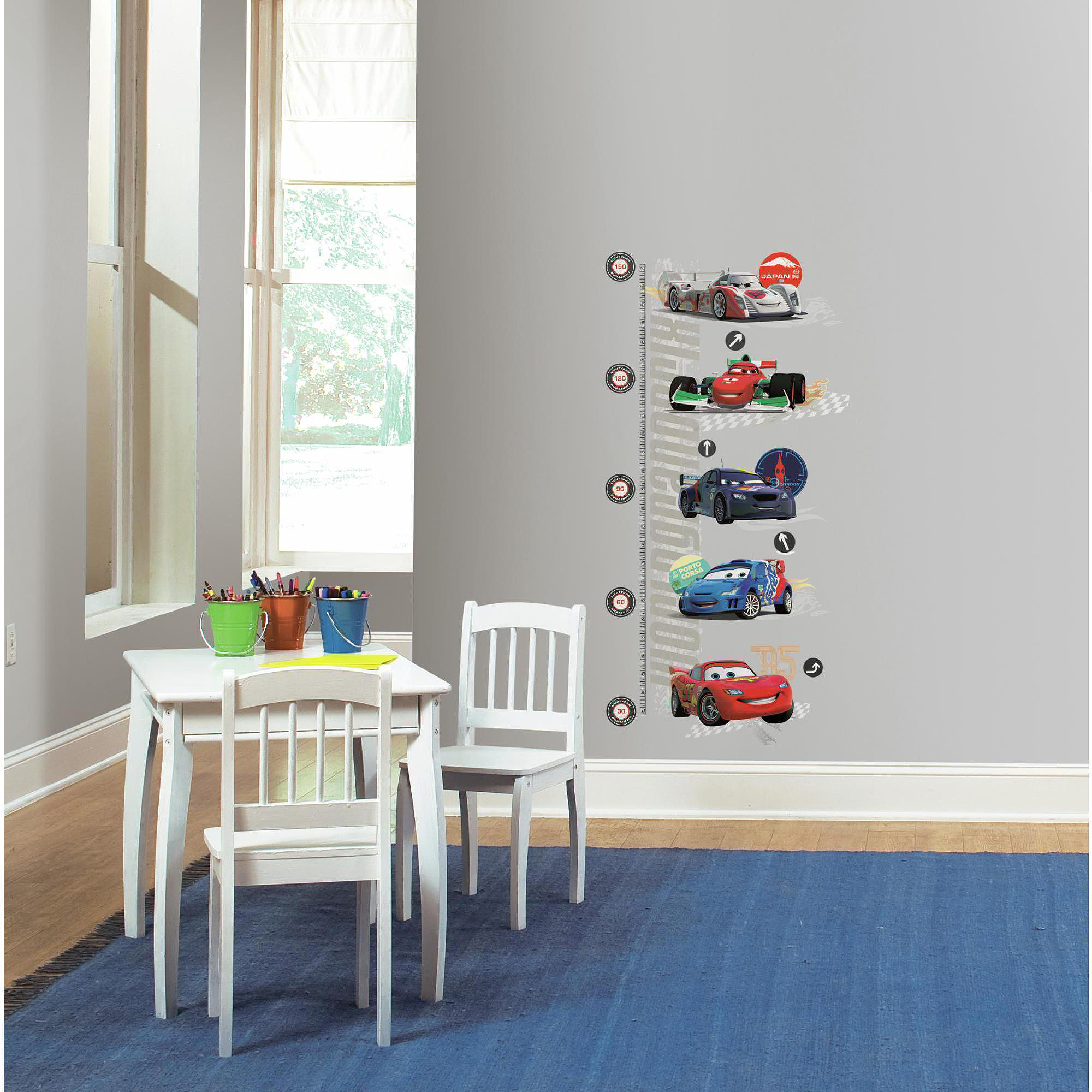 Cars 2 peel and stick metric growth chart wall decals walmart nvjuhfo Image collections
