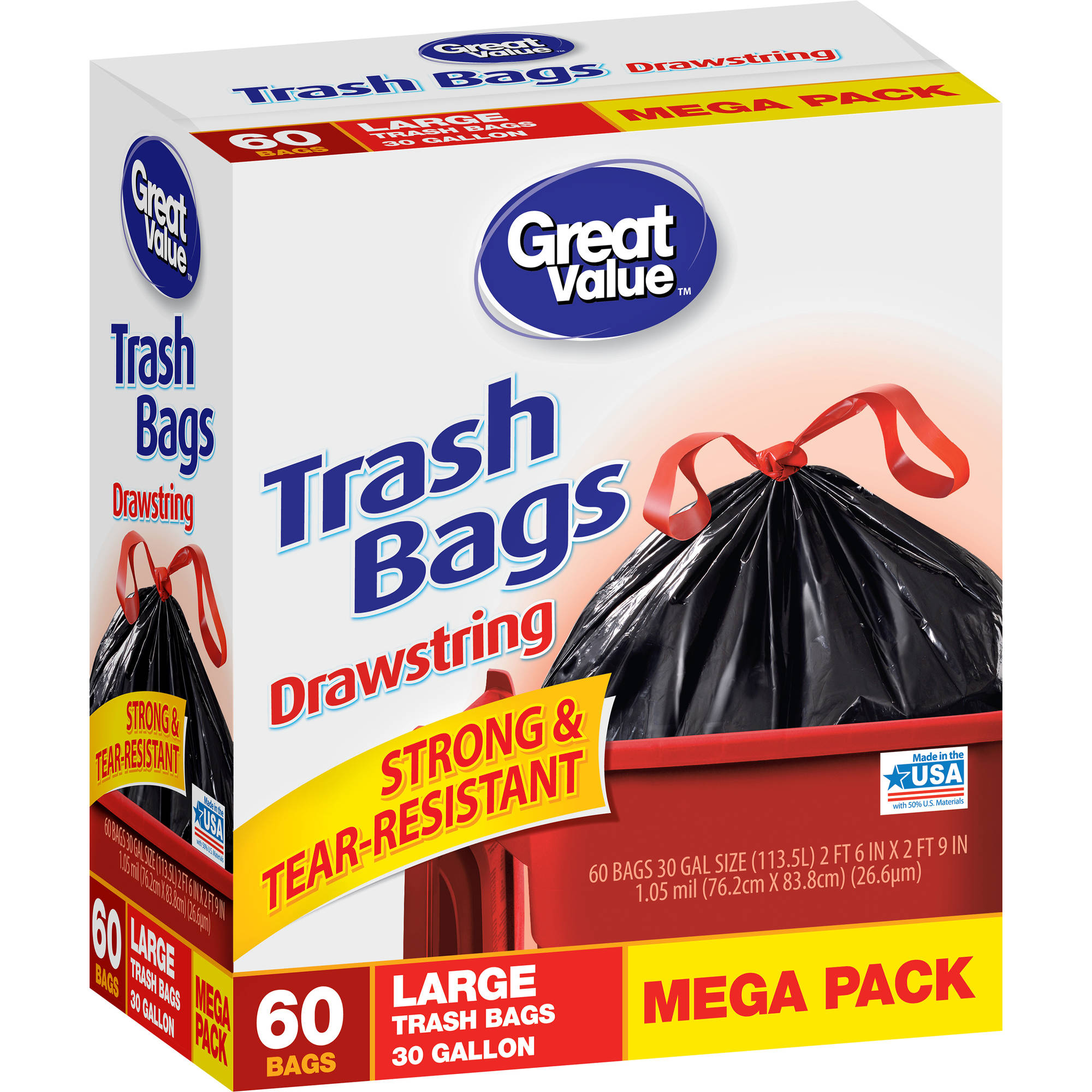 Great Value Large Trash Bags, 30 gal, 60ct