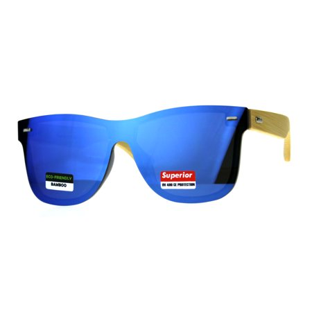 Mens Bamboo Wood Arm Shield Color Mirror Lens Sunglasses Blue](Blue Sunglasses)