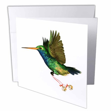 3dRose Hummingbird Christmas, Greeting Cards, 6 x 6 inches, set of 12 ()