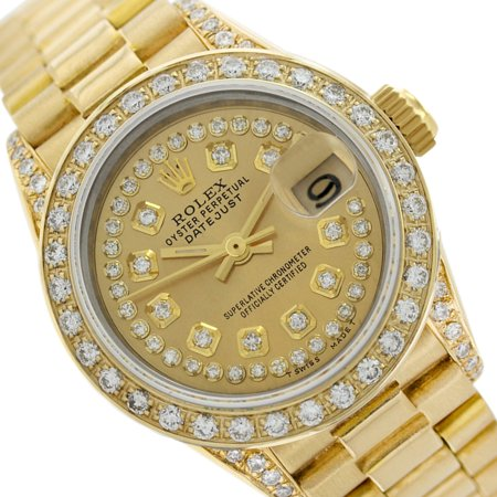 Pre-owned Rolex Ladies Datejust 18K Gold Champagne Diamond Dial, Bezel & Lugs  - Gold Rolex Replica