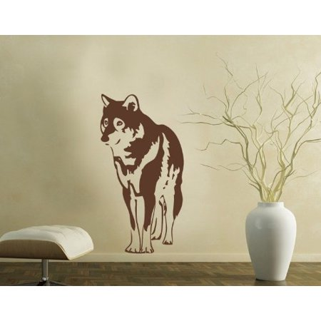 Wolf Wall Decal - wall decal, sticker, mural vinyl art home decor - 4003 - Silver, 24in x 47in 12 White Logo Decal