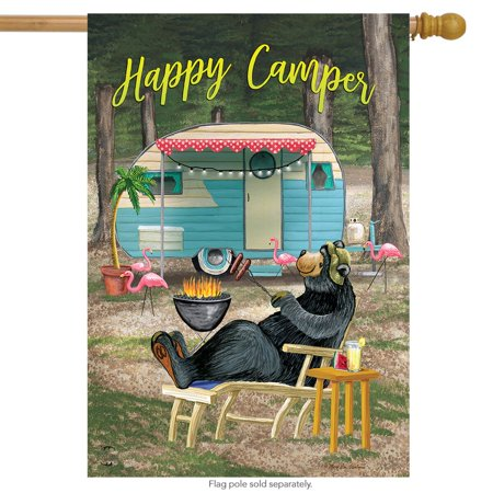 happy camper bear summer house flag outdoors humor 28