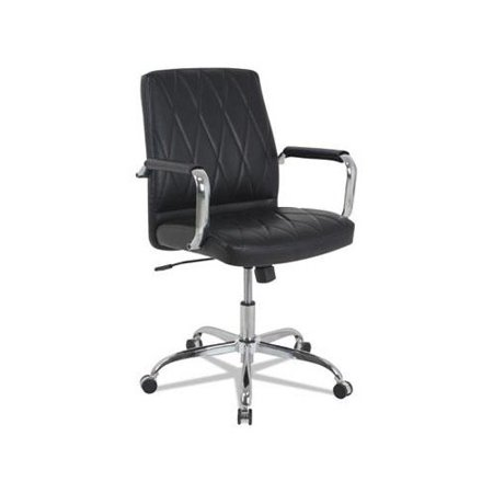 kathy ireland by Alera Nebulous Series Mid-Back Leather Chair, Black Seat
