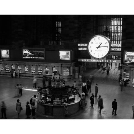 1950s-1959 Grand Central Passenger Railroad Station Main Hall Information Booth And Train Ticket Windows Nyc Ny (Grand Central Station To Penn Station Ny)