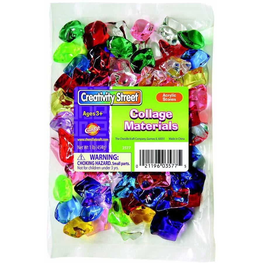 "Chenille Kraft Assorted Shape Acrylic Stones, 1"", Assorted Colors, 1 Pound Bag"