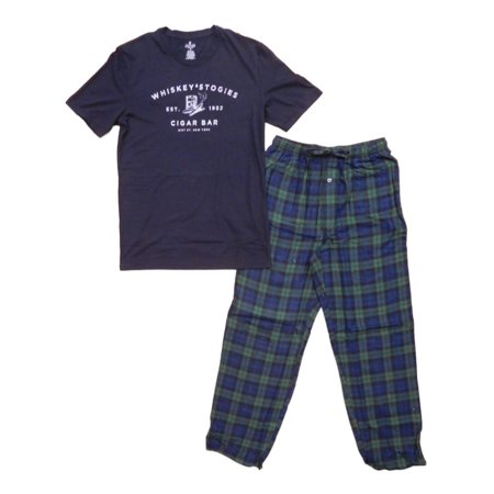 Mens 2pc Black Graphic T-Shirt & Plaid Flannel Pants Pajama (Stafford Flannel)
