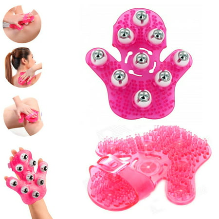 Pink Hand Massager Body Care Roller Rolling Joint Glove Cellulite Massage