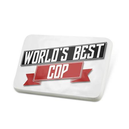 Porcelein Pin Worlds Best Cop Lapel Badge – NEONBLOND](Fake Cop Badge)