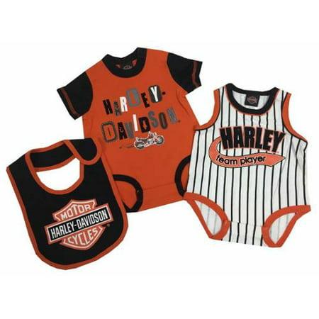Harley Davidson Baby Boys 2 Pk Harley Creeper   Bib Set  Orange Black 3052513  Harley Davidson