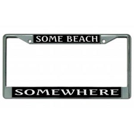 Some Beach Some Where Chrome License Plate Frame - image 1 de 1
