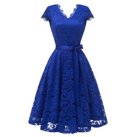 Market In The Box Midi Women's Lace Dress Vintage Style Swing Dress Cap-Sleeve Bridesmaid Party Cocktail Homecoming Dresses With Belt ()