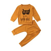 2Pcs Newborn Baby Boy Girl Tracksuit Set Batman Clothes Top T-Shirt Pants Outfit
