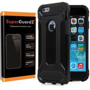 For iPhone 6S / iPhone 6 Case, SuperGuardZ Slim Heavy-Duty Shockproof Protection Cover Armor [Black] + LED Stylus Pen