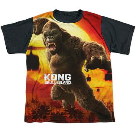 Kong Skull Island Kong Attacks Big Boys Youth Sublimated Shirt With Black Back