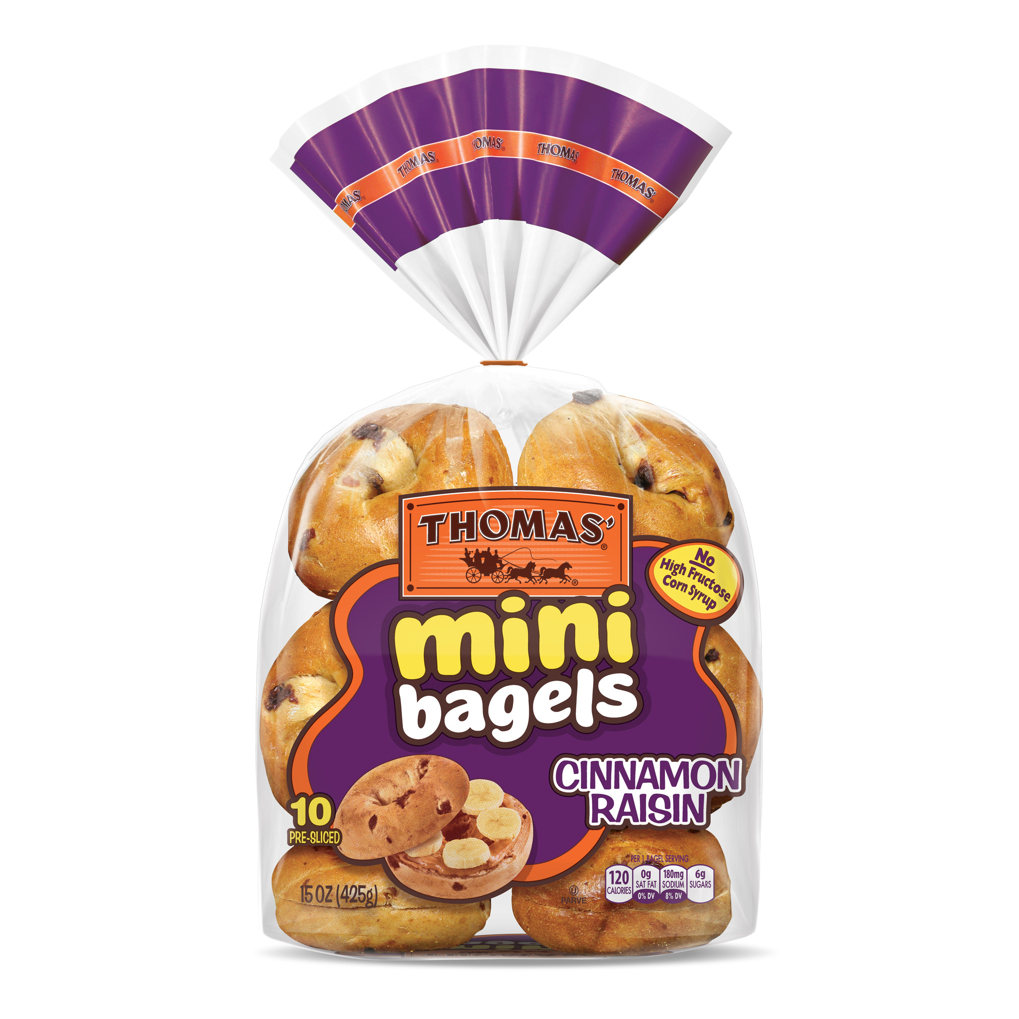 Thomas' Mini Bagels Cinnamon Raisin - 10 CT