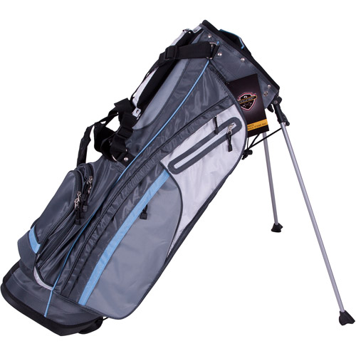 Pinemeadow Golf Courier Stand Bag, Dark Gray/Light Blue/White