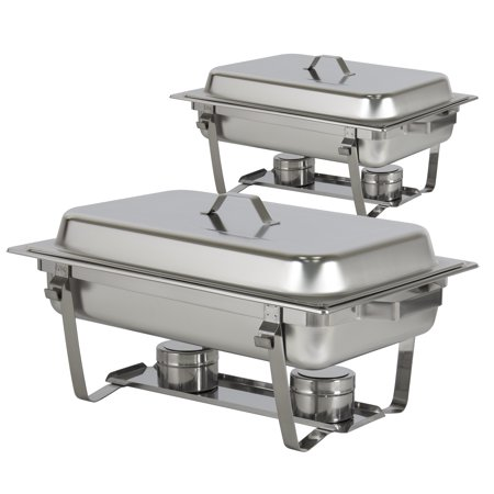 Best Choice Products 8qt Set of 2 Stainless Steel Full Size Tray Buffet Catering Chafing Dishes -