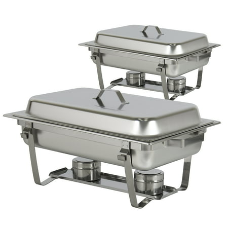 Best Choice Products 8qt Set of 2 Stainless Steel Full Size Tray Buffet Catering Chafing Dishes - (Best Full Size Food Processor)