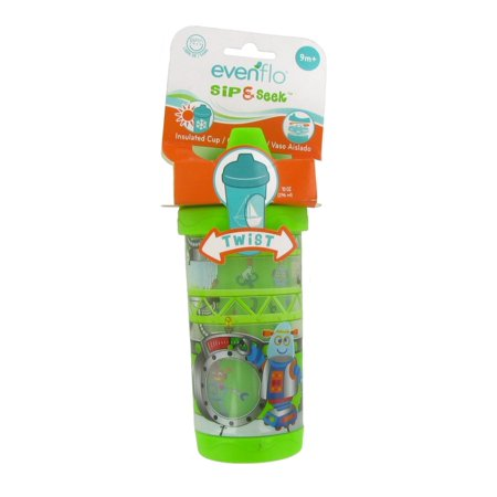 Evenflo Sip and Seek Insulated Sippy Cup - 10 Ounce - Green Robot