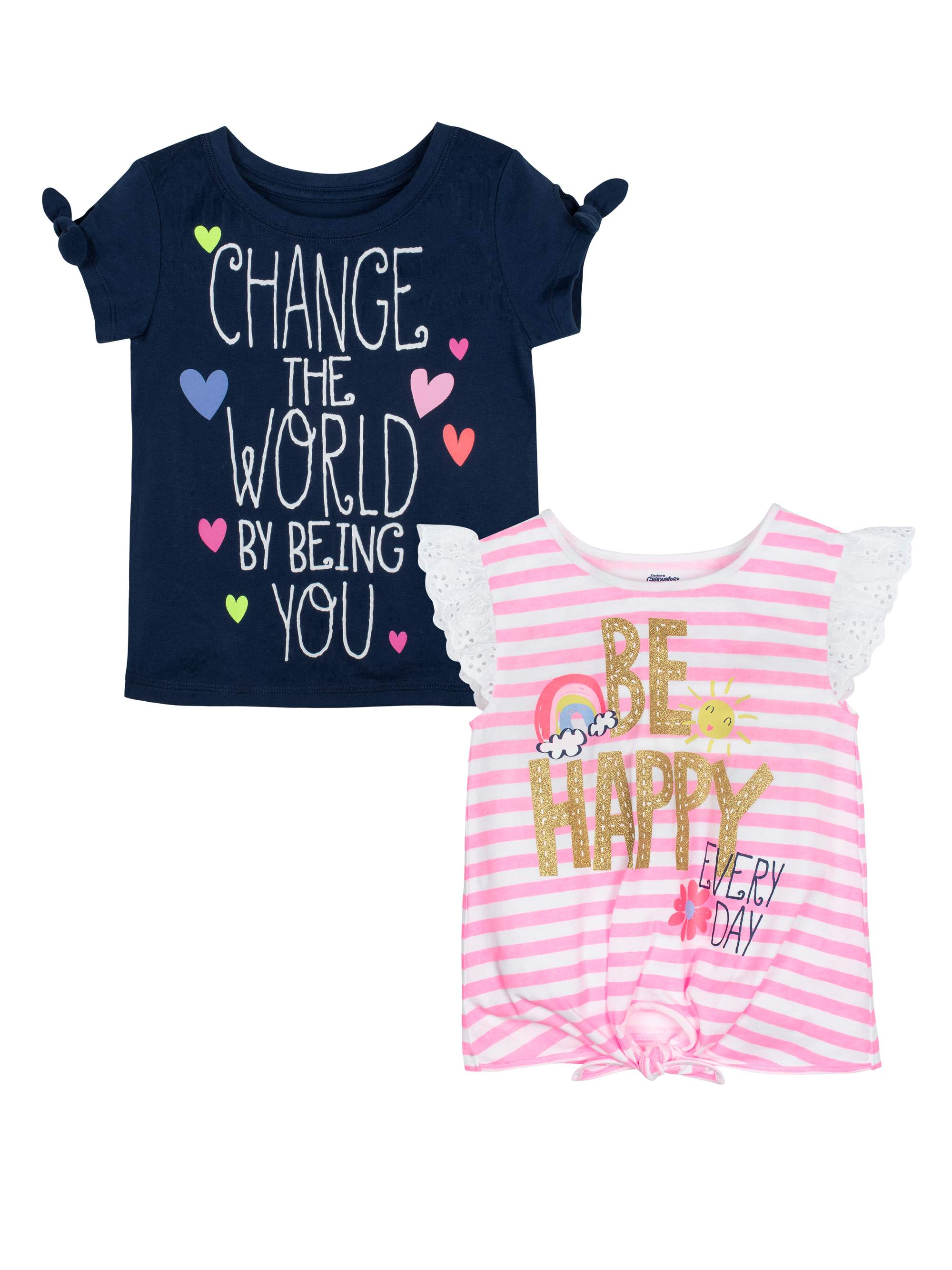 Graphic T-shirts, 2-pack (Baby Girls & Toddler Girls)