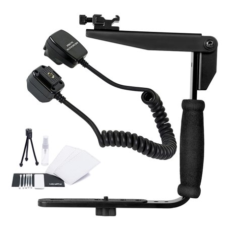 Rotating Flash Bracket Grip with Nikon SC-28, SC-29 Replacement Off Camera TTL Flash Cord for Select Nikon Digital SLRs. UltraPro Bundle Includes: Cleaning Kit, LCD Screen Protector, Mini Tripod ()