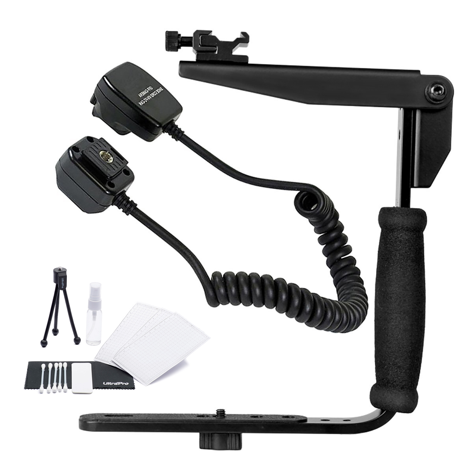 Rotating Flash Bracket Grip with Nikon SC-28, SC-29 Replacement Off Camera TTL Flash Cord for Select Nikon Digital SLRs. UltraPro Bundle Includes: Cleaning Kit, LCD Screen Protector, Mini Tripod