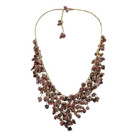 Waterfall Earth Tones Jasper Braided Gold Silk Necklace