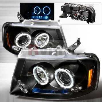 Ford F-150 2004 2005 2006 2007 2008 LED Halo Projector Headlights - Black