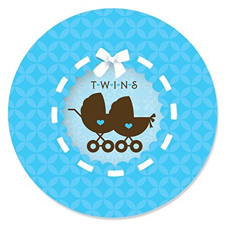 Twin Boy Baby Carriages - Twins Baby Shower Party Circle Sticker Labels -  24 Count