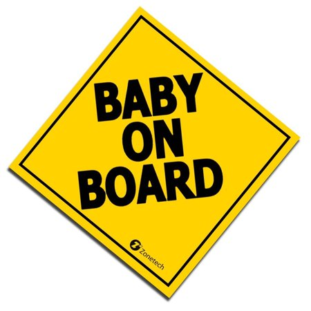 "Zone Tech ""Baby On Board"" Vehicle Safety Sticker - 7"" Convenient ""Baby on Board"" Vehicle Safety Sign Sticker"