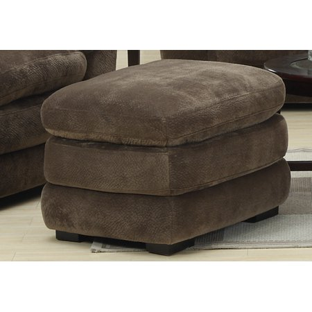 Mocha Upholstery (Emerald Home Devon Mocha Ottoman with Pocket Coil, Fixed Cushion And Easy Clean Microfiber Upholstery)