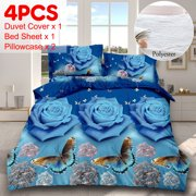 4pcs 3D Butterfly Rose Pattern Printed Bedding Set Bedding Textile Queen Size Duvet Quilt Cover,Bed Sheet,2 Pillowcase-Blue