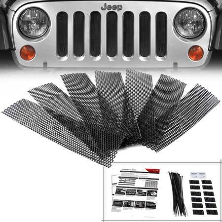 2007 2016 Jeep Wrangler Jk Front Hood Grille Black Mesh Guard Rugged Radiator Armor 07 08 09 10 11 12 13 14 15 16