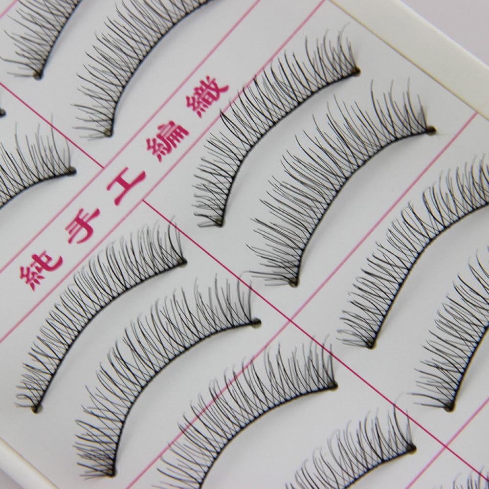 Outtop 10 Pairs Natural Fashion Eyelashes Eye Makeup Handmade Long False Lashes Sparse