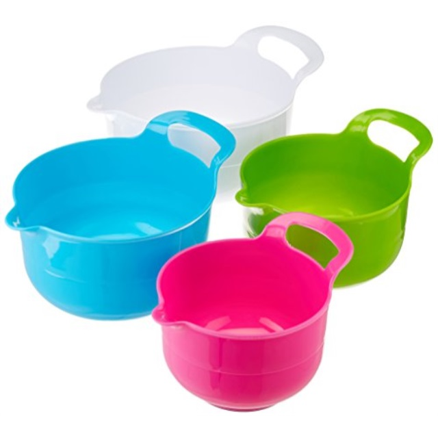 Gourmet Home Products 136744 Polypropylene Batter Bowl Set with Non Skid Bottom, 4 Piece , White
